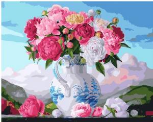 Фото Картины на холсте по номерам, Картины  в пакете (без коробки) 50х40см; 40х40см; 40х30см, Цветы, букеты, натюрморты Картина по номерам без коробки Paintboy Букет пионов в вазе 40х50см (GX 25496)