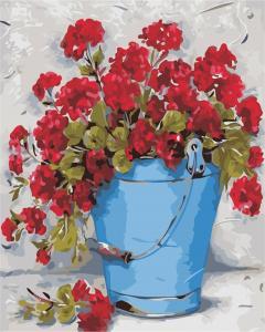 Фото Картины на холсте по номерам, Букеты, Цветы, Натюрморты Картина по номерам в коробке ArtStory Герань в ведёрке 40x50см (AS 0319)