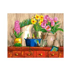 Фото Картины на холсте по номерам, Картины  в пакете (без коробки) 50х40см; 40х40см; 40х30см, Цветы, букеты, натюрморты Картина по номерам без коробки Paintboy Натюрморт из трех цветков 40х50см (GX 25050)