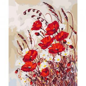 Фото Картины на холсте по номерам, Картины  в пакете (без коробки) 50х40см; 40х40см; 40х30см, Цветы, букеты, натюрморты Картина по номерам без коробки Идейка Маковая поляна 40х50см (KHO 3042)