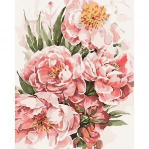 Фото Картины на холсте по номерам, Картины  в пакете (без коробки) 50х40см; 40х40см; 40х30см, Цветы, букеты, натюрморты Картина по номерам без коробки Идейка Пионы для любимой 40х50см (KHO 3046)