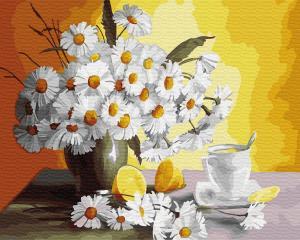 Фото Картины на холсте по номерам, Картины  в пакете (без коробки) 50х40см; 40х40см; 40х30см, Цветы, букеты, натюрморты Картина по номерам без коробки Paintboy Чай с лимоном и ромашки 40х50см (GХ 29442)