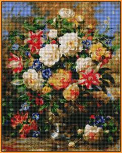 Фото  ST1052 Лилии и жёлтые розы Набор для творчества алмазная живопись 40х50 см холст натянут на ДВП в раме