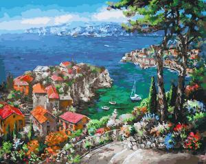 Фото Картины на холсте по номерам, Морской пейзаж Картина по номерам Paintboy K Лазурный берег KGX 27235  40х50см в коробке