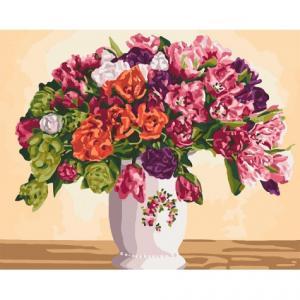 Фото Картины на холсте по номерам, Картины  в пакете (без коробки) 50х40см; 40х40см; 40х30см, Цветы, букеты, натюрморты Картина по номерам без коробки Идейка Пышные тюльпаны 40х50см (KHO 3075)