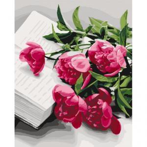 Фото Картины на холсте по номерам, Картины  в пакете (без коробки) 50х40см; 40х40см; 40х30см, Цветы, букеты, натюрморты Картина по номерам без коробки Идейка Загадочные пионы 40х50см (KHO 3059)