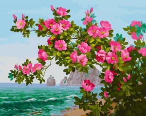 Фото Картины на холсте по номерам, Букеты, Цветы, Натюрморты Картина по номерам в коробке Paintboy Цветы на фоне моря 40х50см (KGX 26067)
