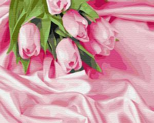 Фото Картины на холсте по номерам, Картины  в пакете (без коробки) 50х40см; 40х40см; 40х30см, Цветы, букеты, натюрморты Картина по номерам без коробки Paintboy Тюльпаны в шелке 40х50см (GX34760)