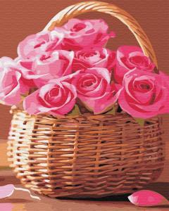 Фото Картины на холсте по номерам, Картины  в пакете (без коробки) 50х40см; 40х40см; 40х30см, Цветы, букеты, натюрморты Картина по номерам без коробки Paintboy Корзинка розовых роз 40х50см (GX34808)