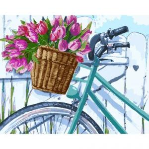 Фото Картины на холсте по номерам, Картины  в пакете (без коробки) 50х40см; 40х40см; 40х30см, Цветы, букеты, натюрморты Картина по номерам без коробки Идейка Утренние тюльпаны 40х50см (KHO 2219)