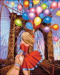 Фото Картины на холсте по номерам, Картины  в пакете (без коробки) 50х40см; 40х40см; 40х30см, Романтические картины. Люди. Картина по номерам без коробки Paintboy Следуй за мной Бруклинский мост 40х50см (GX 31142)