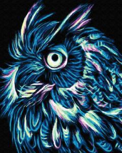 Фото Картины на холсте по номерам, Животные. Птицы. Рыбы... Картина по номерам в коробке  Paintboy Неоновая сова 40х50см (KGX 32108)