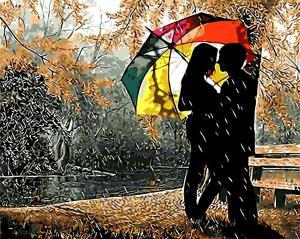 Фото Картины на холсте по номерам, Романтические картины. Люди Картина по номерам в коробке Paintboy Под разноцветным зонтом 40х50см (KGX 8840)