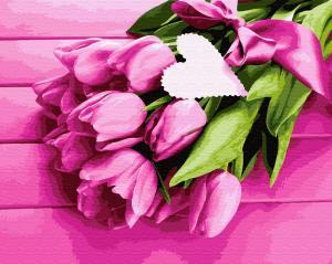 Фото Картины на холсте по номерам, Картины  в пакете (без коробки) 50х40см; 40х40см; 40х30см, Цветы, букеты, натюрморты Картина по номерам без коробки Paintboy Тюльпаны для любимой 40х50см (GX 32480)