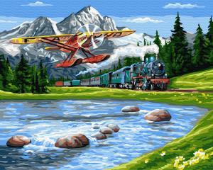 Фото Наборы для вышивания, Вышивка крестом с нанесенной схемой на конву, Пейзаж KGX 33234 Путешествие в горы Картина по номерам на холсте 40х50см