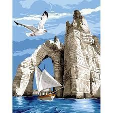 Фото Картины на холсте по номерам, Картины  в пакете (без коробки) 50х40см; 40х40см; 40х30см, Пейзаж, морской пейзаж. Картина по номерам без коробки Paintboy Белые скалы в море 40х50см (GX 31197)