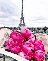 Фото Картины на холсте по номерам, Картины  в пакете (без коробки) 50х40см; 40х40см; 40х30см, Цветы, букеты, натюрморты Картина по номерам без коробки Paintboy Пионы в Париже 40х50см (GX 31855)