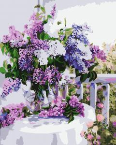 Фото Картины на холсте по номерам, Букеты, Цветы, Натюрморты Картина по номерам в коробке Идейка Букет сирени 2 40х50см (KH 1074)