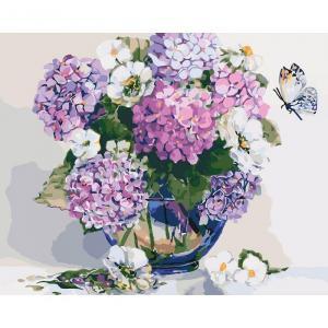 Фото Картины на холсте по номерам, Букеты, Цветы, Натюрморты Картина по номерам в коробке Идейка Шикарная гортензия 40х50см (KH 2083)