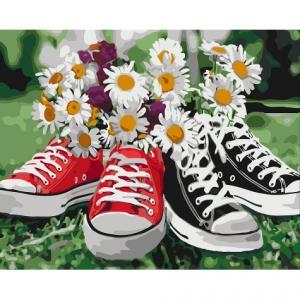 Фото Картины на холсте по номерам, Букеты, Цветы, Натюрморты Картина по номерам в коробке Идейка Необычное сочетание 40х50см (KH 3073)