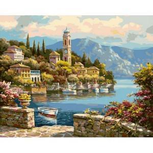 Фото Картины на холсте по номерам, Морской пейзаж Картина по номерам Babylon  Башня на берегу VP 018 50х40см в коробке
