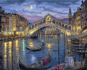 Фото Картины на холсте по номерам, Городской пейзаж Картина по номерам в коробке Babylon Венеция. Мост Риальто  50х40см (VP 041)