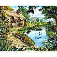 Фото Картины на холсте по номерам, Загородный дом Картина по номерам Babylon  Коттедж у озера VP 144 40х50см  в коробке