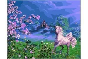 Фото Картины на холсте по номерам, Животные. Птицы. Рыбы... Картина по номерам в коробке Babylon Розовая лошадь 40х50см (VP 170)