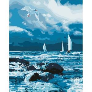 Фото Картины на холсте по номерам, Морской пейзаж Картина по номерам Идейка  Бурное море KH 2747  40х50см в коробке