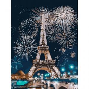 Фото Картины на холсте по номерам, Городской пейзаж Картина по номерам без коробки Идейка Огни Парижа 30х40см (KHO 3572)