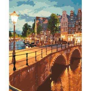 Фото Картины на холсте по номерам, Городской пейзаж Картина по номерам без коробки Идейка Вечерний город 40х50см (KHO 3578)