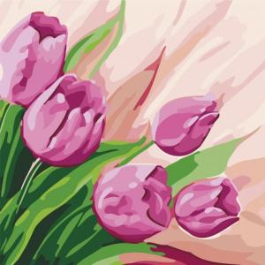 Фото Картины на холсте по номерам, Картины  в пакете (без коробки) 50х40см; 40х40см; 40х30см, Цветы, букеты, натюрморты Картина по номерам без коробки Идейка Персидские тюльпаны 30х30см (KHO 2948)