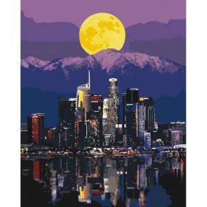 Фото Картины на холсте по номерам, Городской пейзаж Картина по номерам без коробки Идейка Огни мегаполиса 40х50см (KHO 3565)