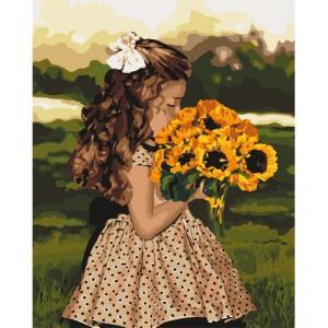 Фото Картины на холсте по номерам, Дети на картине KH 4662 Девочка с подсолнухами Роспись по номерам на холсте 40х50см