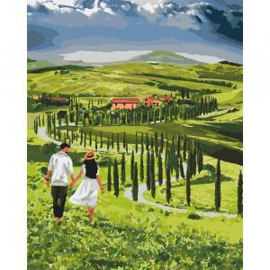 Фото Картины на холсте по номерам, Романтические картины. Люди Картина по номерам в коробке Идейка Прогулка с любимым 40х50см (KH 2285)