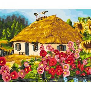 Фото Картины на холсте по номерам, Загородный дом Картина по номерам Идейка  Живописный пейзаж  KH 2286 40х50см  в коробке