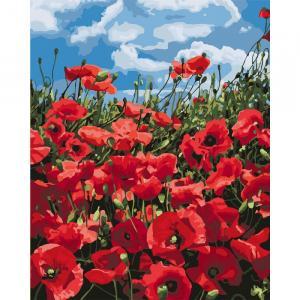 Фото Картины на холсте по номерам, Картины  в пакете (без коробки) 50х40см; 40х40см; 40х30см, Цветы, букеты, натюрморты Картина по номерам без коробки Идейка Удивительные маки 40х50см (KHO 2287)