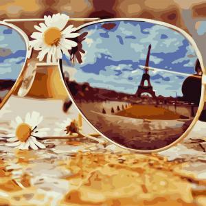 Фото Картины на холсте по номерам, Картины  в пакете (без коробки) 50х40см; 40х40см; 40х30см, Цветы, букеты, натюрморты Картина по номерам без коробки ArtStory Отображение Парижа 40x40см (AS 0808)