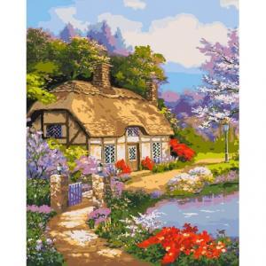Фото Картины на холсте по номерам, Загородный дом KHO 2255 Загородный дом Роспись по номерам на холсте (без коробки) 40х50см