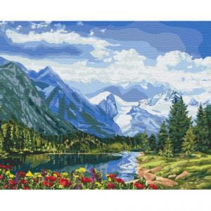 Фото Картины на холсте по номерам, Картины  в пакете (без коробки) 50х40см; 40х40см; 40х30см, Пейзаж, морской пейзаж. Картина по номерам без коробки Идейка Альпийское совершенство 40х50см (KHO 2288)