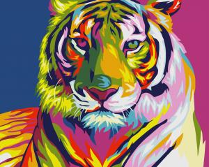 Фото Картины на холсте по номерам, Животные. Птицы. Рыбы... Картина по номерам в коробке Идейка Радужный тигр 40х50см (KH 2436)