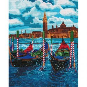 Фото Картины на холсте по номерам, Морской пейзаж Картина по номерам Идейка  Венецианское такси KH 2749  40х50см в коробке