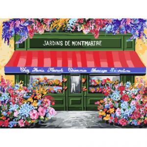 Фото Картины на холсте по номерам, Городской пейзаж Картина по номерам без коробки Идейка Цветочная лавка 40х30см (KHO 3567)