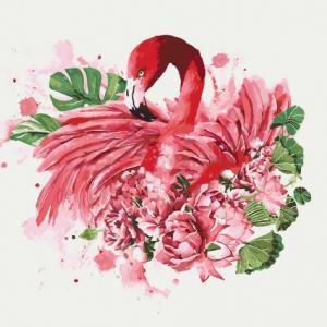 Фото Картины на холсте по номерам, Животные. Птицы. Рыбы... Картина по номерам в коробке Идейка Грациозный фламинго 40х40см (KH 4042)