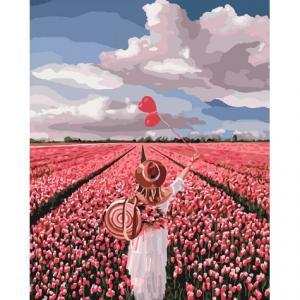 Фото Картины на холсте по номерам, Картины  в пакете (без коробки) 50х40см; 40х40см; 40х30см, Романтические картины. Люди. Картина по номерам без коробки Идейка Розовая мечта 40х50см (KHO 4603)