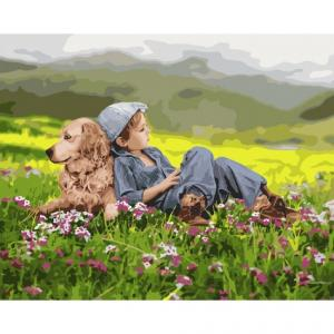 Фото Картины на холсте по номерам, Дети на картине KHO 4702 Дружественный дуэт Роспись по номерам на холсте (без коробки) 40х50см