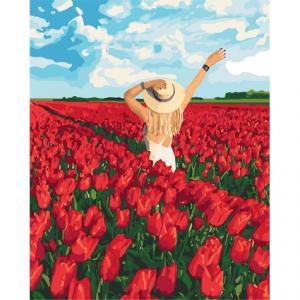 Фото Картины на холсте по номерам, Романтические картины. Люди Картина по номерам в коробке Идейка В плену цветов 40х50см (KH 4721)