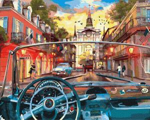 Фото Картины на холсте по номерам, Городской пейзаж Картина по номерам в коробке Paintboy  За рулём  40х50см (KGX 34419)