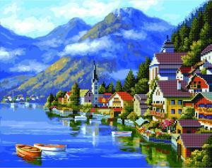 Фото  GZS 1039 Город-сказка Алмазная картина-раскраска (смешанная техника)