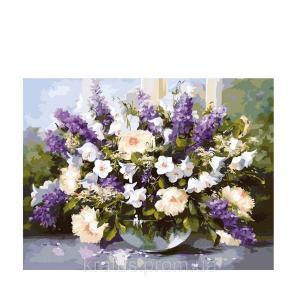 Фото Картины на холсте по номерам, Букеты, Цветы, Натюрморты Картина по номерам в коробке Идейка Большой букет в стеклянной вазе 40х50см (KH 1050)